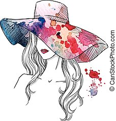 Sketch of a girl in a hat. Fashion