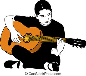 a girl playing on an acoustic guitar - sketch of a girl ...