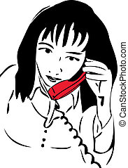 sketch of a girl talking on the phone the red