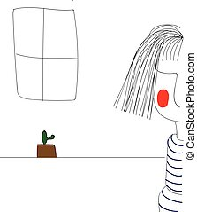Sketch of a girl with cactus in the background
