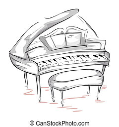 Sketch of a Grand Piano with Clipping Path