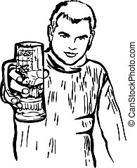 sketch of a guy with a glass of beer