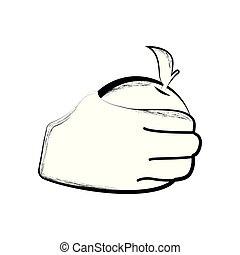 Sketch of a hand holding an orange