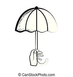 Sketch of a hand holding an umbrella