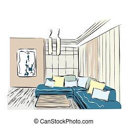 Sketch of a interior.