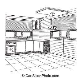 Sketch of a kitchen interior