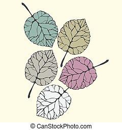 Sketch of a leaf.  Hand drawn leaves