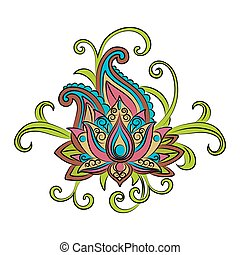 Sketch of a lotus on a white background.Vector ornamental...