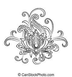 Vector ornamental Lotus, ethnic zentangled henna tattoo -...
