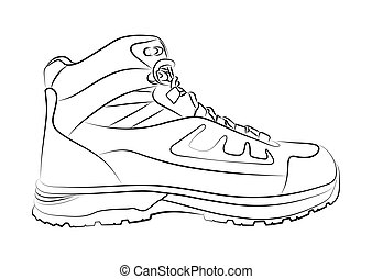 Sketch of a male shoe on white background. Vector illustration.