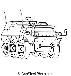 sketch of a military tank, ship, coloring book, isolated object on a white background, vector illustration,
