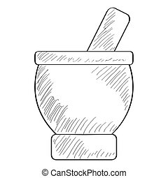 Sketch of a mortar with pestle