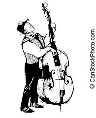 sketch of a musician on the bass viols - black and white...
