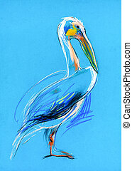 Original pastel and hand drawn painting or working sketch of a pelican. Free composition