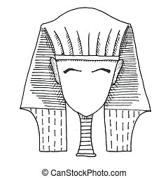 Sketch of a pharaoh's head without a face. Vector. - Sketch...