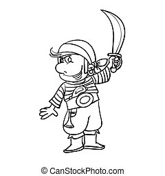 sketch of a pirate who holds a large knife in his hand, coloring, illustration cartoon, vector illustration,