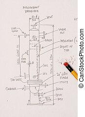 Sketch of a pressure vessel
