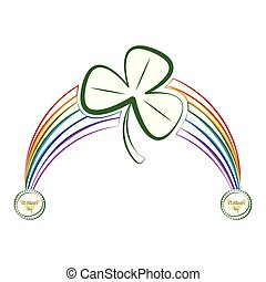Sketch of a rainbow with a clover an saint patrick day labels