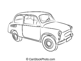 Sketch of a retro car on a white background. Vector illustration.