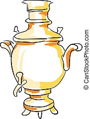 Sketch of a samovar set on isolated white background vector or color illustration