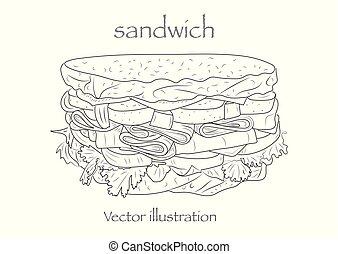 Sketch of a sandwich. Vector illustration.