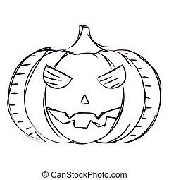 Sketch of a scary pumpkin