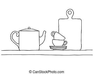 Sketch of a shelf with a kettle, cups and a cutting board....