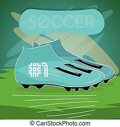 Sketch of a soccer shoe. Soccer uniform- Vector