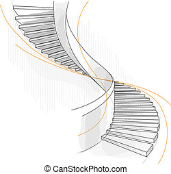 Sketch of a spiral staircase. Vector illustration.