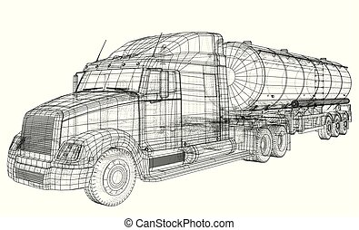 Sketch of a truck with a tank vector. Created illustration of 3d. Wire-frame