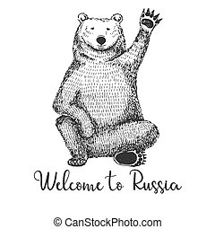 Sketch of a waving bear. Vector illustration. Text Welcome to Russia.