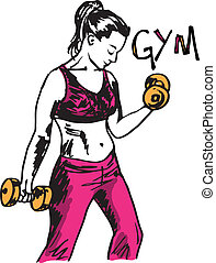 Sketch of a woman working out