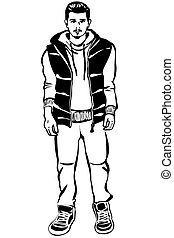 sketch of a young man with a beard in a down vest