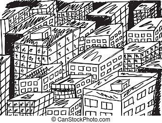 Sketch of abstract city. Vector illustration