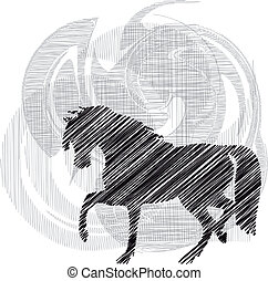 Sketch of abstract horses. Vector