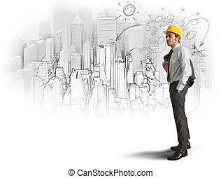 Sketch of an architect - City and office sketch of an...