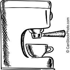 Sketch of an espresso coffee machine