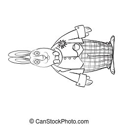 sketch of an intelligent hare dressed in a camisole and checkered pants, coloring book, cartoon illustration, isolated object on a white background, vector illustration,