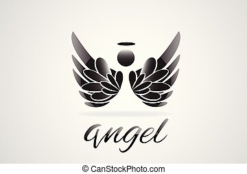 Sketch of angel wings logo vector