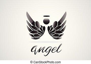 Sketch of angel wings logo vector