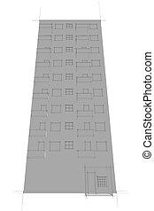 sketch of apartment block