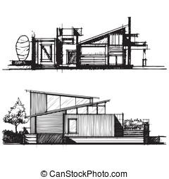 Sketch of architecture design vecto