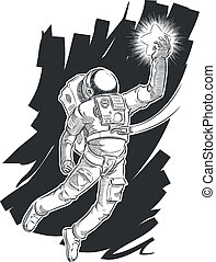 Sketch of Astronaut or Spaceman - A vector sketch of an...