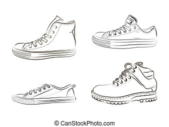 Sketch of athletic shoes, sneakers and shoes. Vector illustration. Sportswear for men and women.