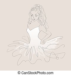 Sketch of ballerina. Expressive performance girl ballet drawing. Vector illustration, beautiful dancer