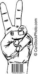 Sketch of barcoded hand in victory sign. Vector illustration