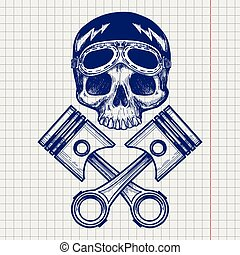 Sketch of biker rider skull on notebook page background. ...