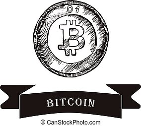 Sketch of bitcoin. vector illustration