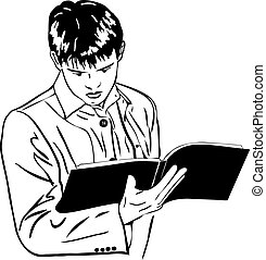 sketch of boy attentively reading a large notebook