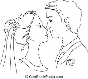 Sketch of bride and groom. Man and woman are looking at each...